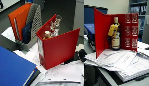 the office stash  camouflaged beer and alcohol storage