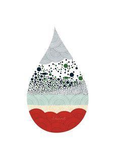 Goutte d'eau Print, illustration de poisson, illustration animale, Aquarium, géométrie, arts décoratifs, dessin, de la pluie