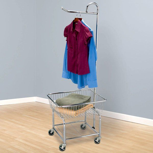 This Chrome Laundry Butler Is Perfect Zulilyfinds Laundry Cart Household Essentials Garment Racks Rolling laundry cart with hanging bar