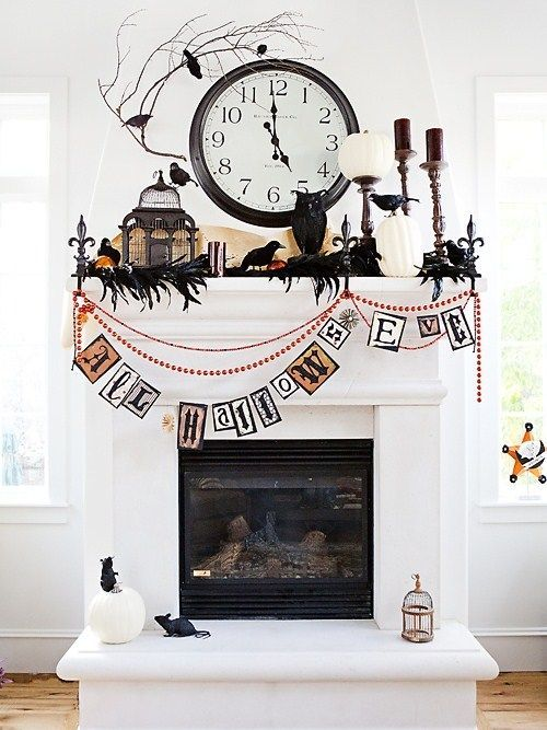black  white Halloween mantle decore a black boa Holidays in