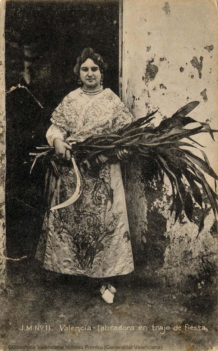 Labradora en traje de fiesta. Valencia, 1910. 1 fot. (tarjeta postal) ; 14 X 9 cm.