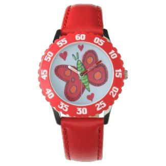 Kid's girls red/white wacht butterfly design