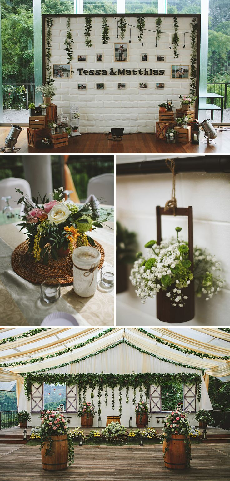 Gorgeous rustic decor with plenty of greenery and soft pastel colours // This rustic and relaxed affair, captured by Fire Wood and Earth and planned by Bozza Event Organiser, perfectly combined the green surroundings of Padma Hotel Bandung with wood crates, barrels, lush leaves, and garlands.