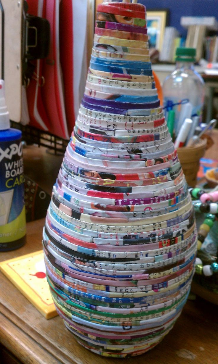 recycled magazine vase
