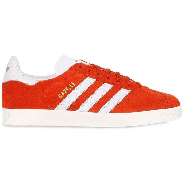 Adidas Originals Women Gazelle Suede Sneakers ($85) ❤ liked on Polyvore featuring shoes, sneakers, zapatos, orange, orange sneakers, suede shoes, orange shoes, rubber sole shoes and suede sneakers