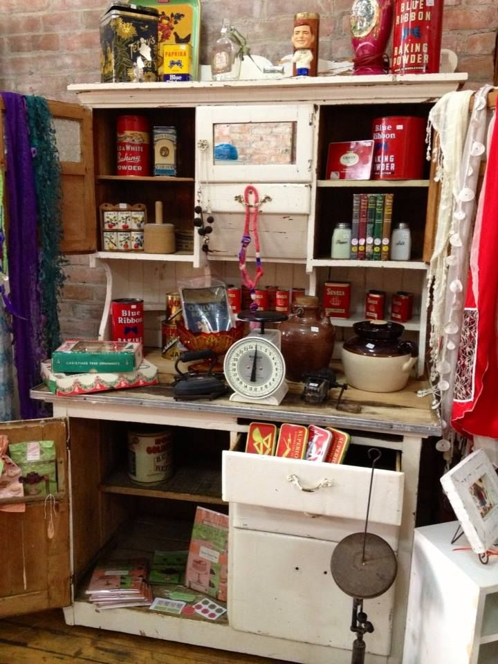 felted jewelry, collector tins, antique sideboard, crockery, and much more