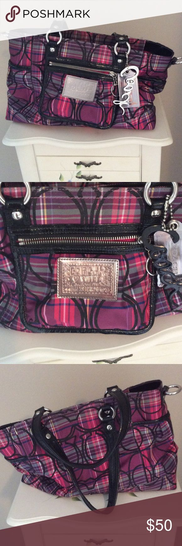 Purple & pink coach purse Coach purse from the poppy collection. Still in really great condition. Coach Bags Shoulder Bags