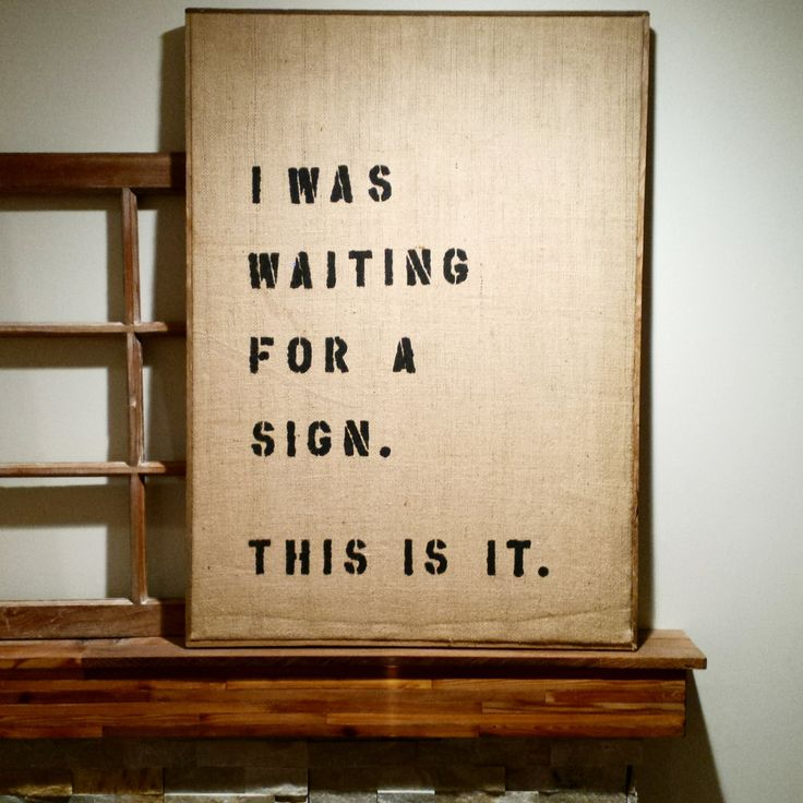 WAITING FOR A SIGN  |  Rustic Wall Art  |  Coffee and Humor  |  Custom Available by BumperCropMarketing on Etsy