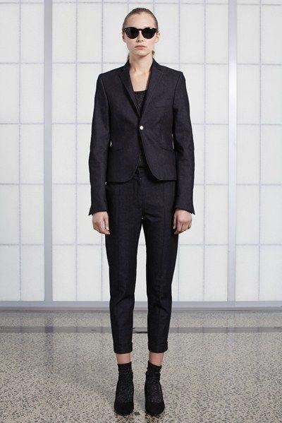s/s 13/14 womens key looks - W13. ms short black in indigo, cigarette trouser in indigo, jetson tinted eyewear.