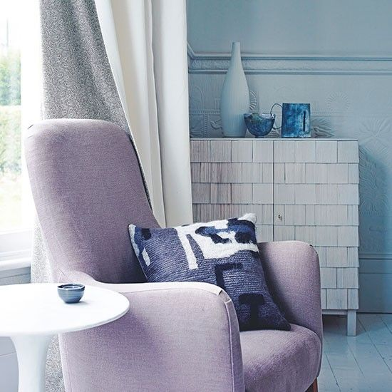 Blue living room with lilac chair | Living room decorating | Homes & Gardens | Housetohome.co.uk