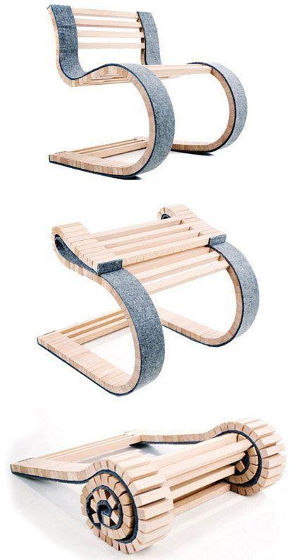 Beweglicher Stuhl aus 2 Materialien: