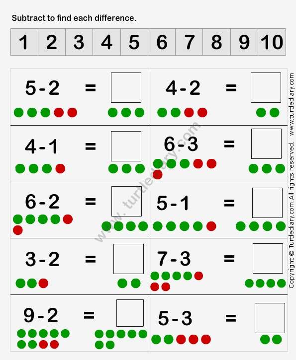 Learn to Subtract Worksheet1