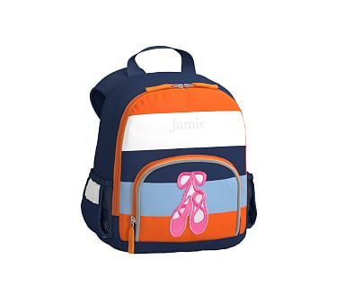 Pre-K Backpack, Fairfax Navy Orange Multicolor Stripe Ballet Shoes