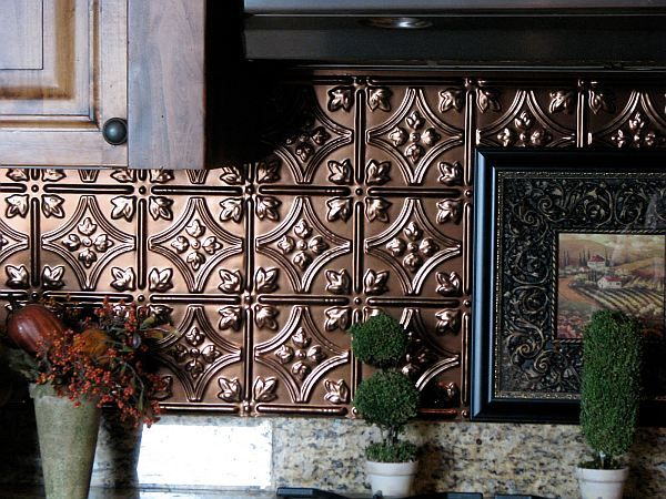 stylish kitchen backsplash with pressed tin Adding Pressed Tin Into Your Home Decor