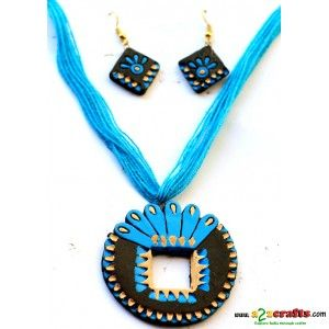 Terracotta Jewellery - blue- green exclusive - Terracotta Jewelry - Rs 215 - Hand Made Crafts - Buy & Sell Indian Handmade Crafts and Handmade Jewelry and Gifts