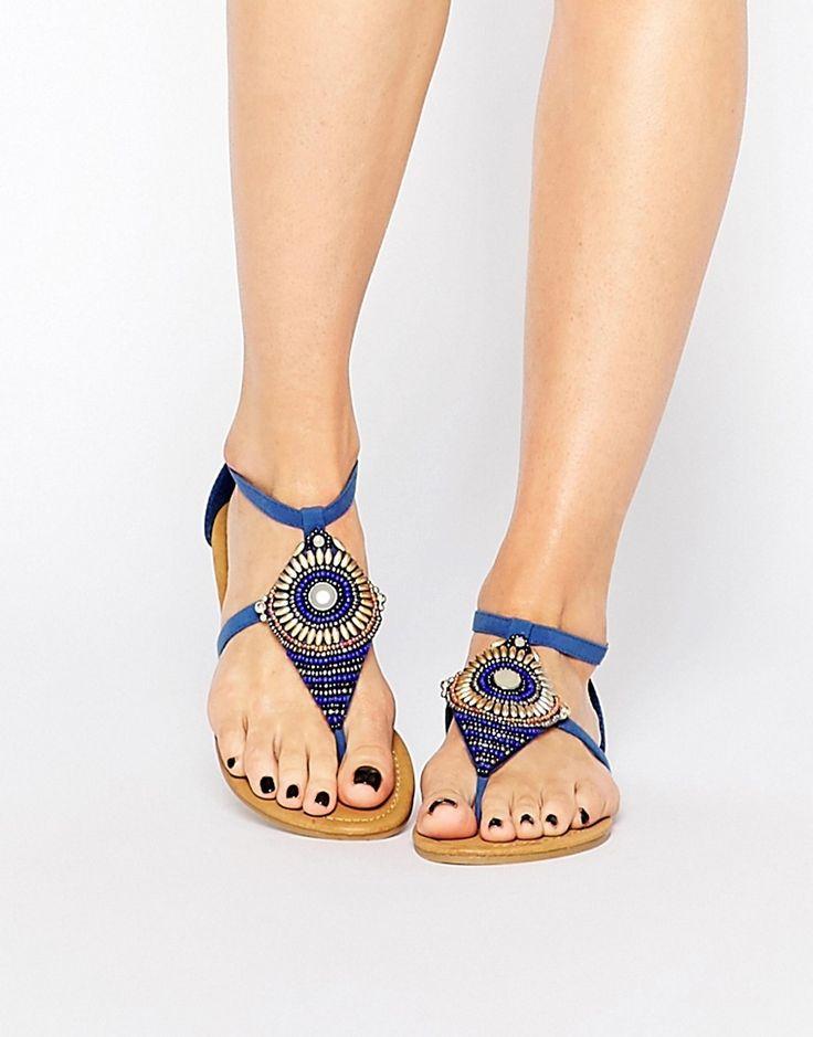 Image 1 ofPark Lane Bead Toepost Flat Sandals