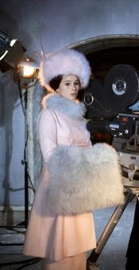 "Geraldine Page in a photo shoot for ""Dr. Zhivago"". Wearing the gorgeous pink coat by Phyllis Dalton."