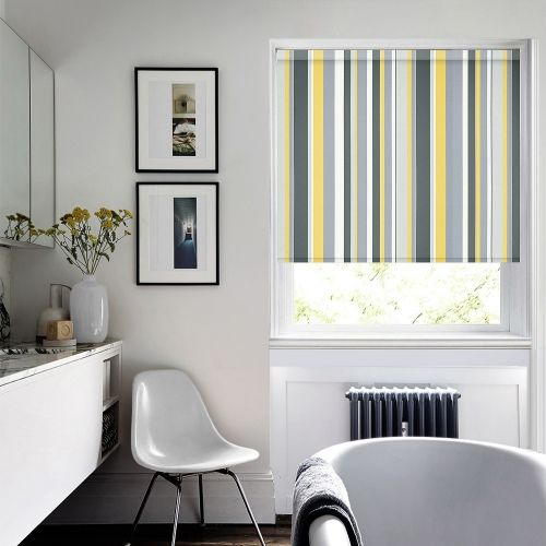 Patterned roller blind with yellow and grey stripes
