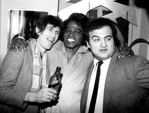 Keith Richards, James Brown, and John Belushi at Studio 54
