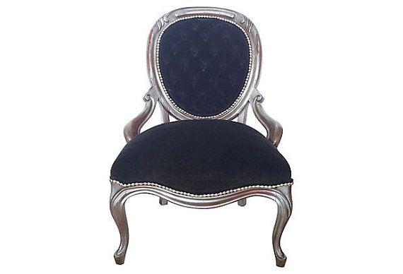 Best Antique Victorian Rococo Accent Chair Tuft In Black Velvet 400 x 300