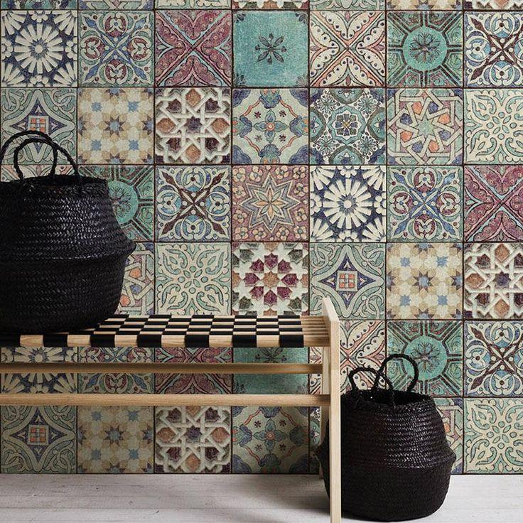Tapete Im Marokkanischen Kroatischen Stil Mit Kacheleffekt Mehrfarbig Style Tile Tile Wallpaper Dining Room Wallpaper
