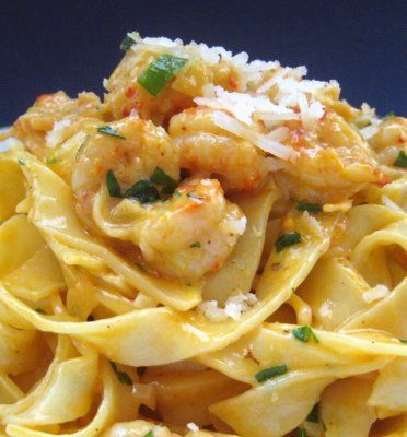 shrimp and pasta in a white wine sauce