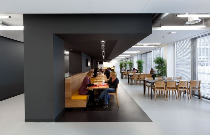 Cool canteen space for University of Amsterdam by OIII Architects- has the feel of a corporate café and break-out space for me. Like the mainly monotone pallette with splashes of yellow and touches of timber.