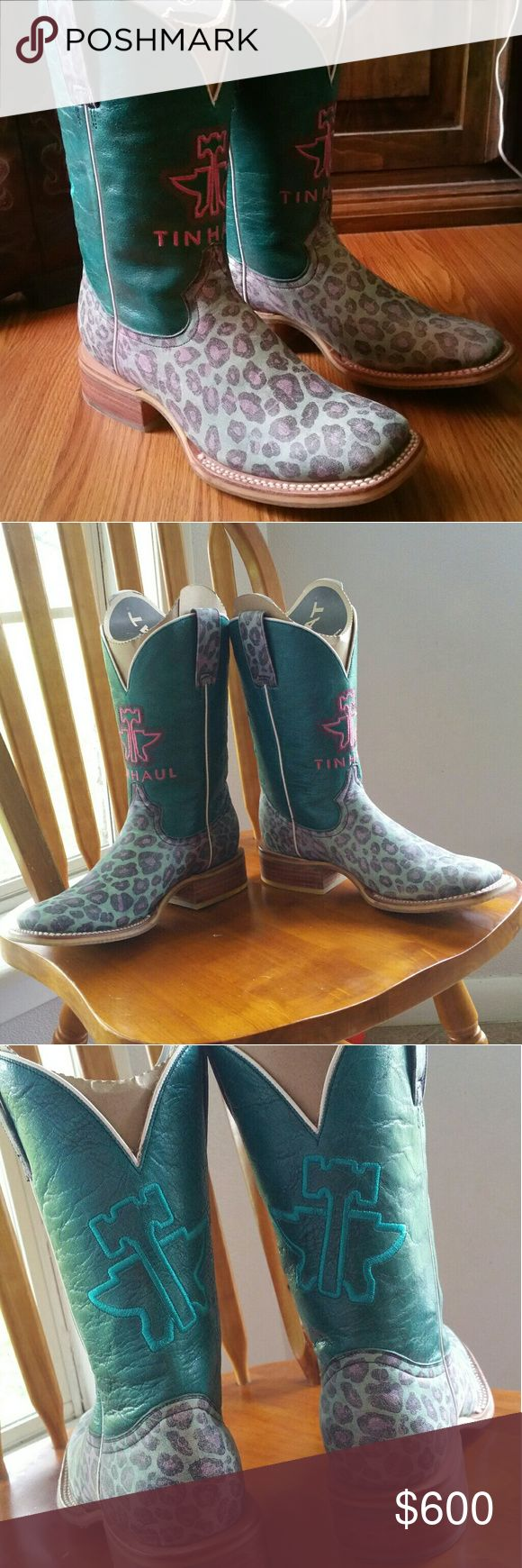 ?? TIN HAUL ?? Tin haul boots size 7. Turquoise leopard print and pink and turquoise stitching on the tops. SUPER CUTE boots and great condition. I haven't worn them in a long time but they have been worn a few times, so they have a little wear that you can see in the pics. Priced high to see if anyone wants to trade and I'm open to offers (: Ariat Shoes Heeled Boots