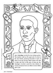 Jan e matzeliger coloring sheet the inventor of the shoe for Black history printable coloring pages