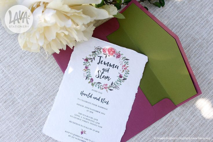 Hayleigh Invitation with floral watercolour wreath printed on Indie Handmade Deckled Edge Card from www.lavastationery.com.au