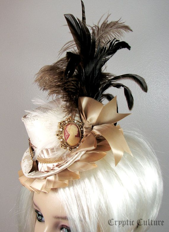 marie antoinette hats | Vintage Cameo Mini Top hat. Marie Antoinette by CrypticCultureGear