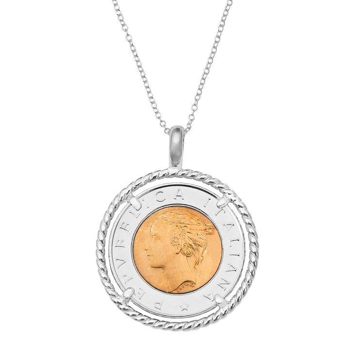 "Sterling Silver Italian Lira Coin Pendant Necklace, Women's, Size: 18"""