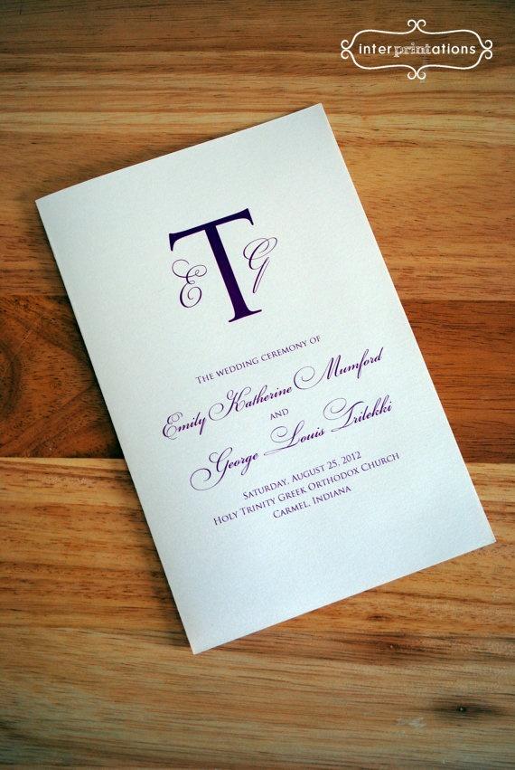Wedding Ceremony Program Booklet Monogram by Interprintations