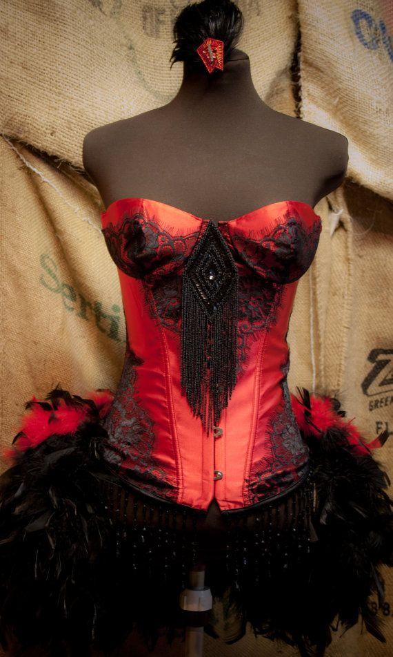 PHOENIX Burlesque Costume Corset Red Black Halloween by olgaitaly