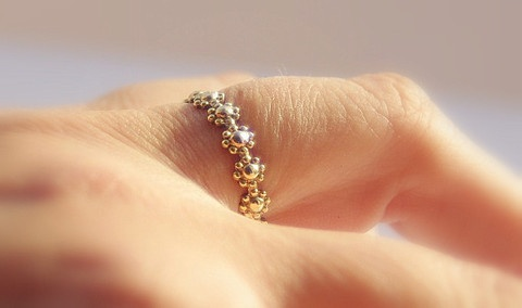 Nadines unique stackable wedding/engagement rings & bangles — Dainty Gold Filled Daisy Flower Stacking Wedding, Engagement or Bridesmaid Ring $69.99