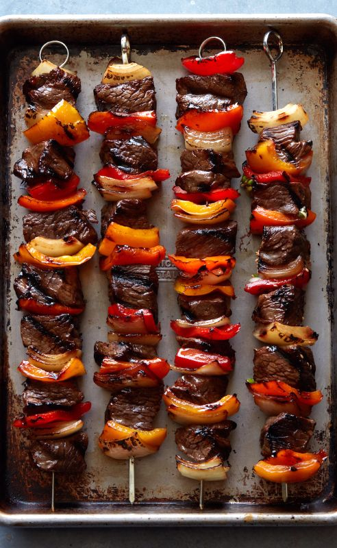 Grilled Kebabs with ALL the veggies and the easiest marinade of all times! from www.whatsgabycooking.com (@whatsgabycookin)