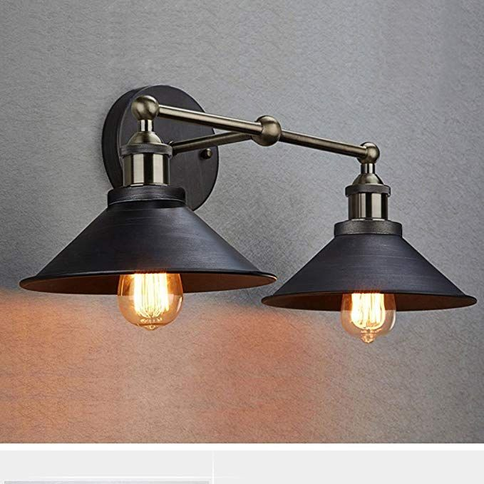 Claxy Ecopower Industrial Edison Simplicity 2 Light Wall Mount Light Sconces Aged Steel Finishe With Images Wall Mounted Light Farmhouse Vanity Lights Vintage Wall Sconces