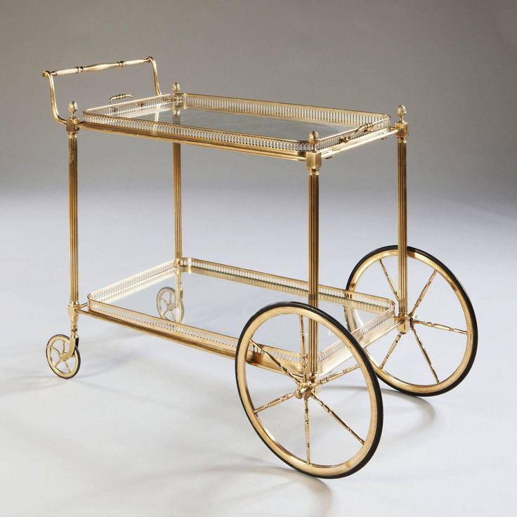 Maison Jansen Polished Brass and Glass Bar Cart or Cocktail Table For Sale at 1stdibs