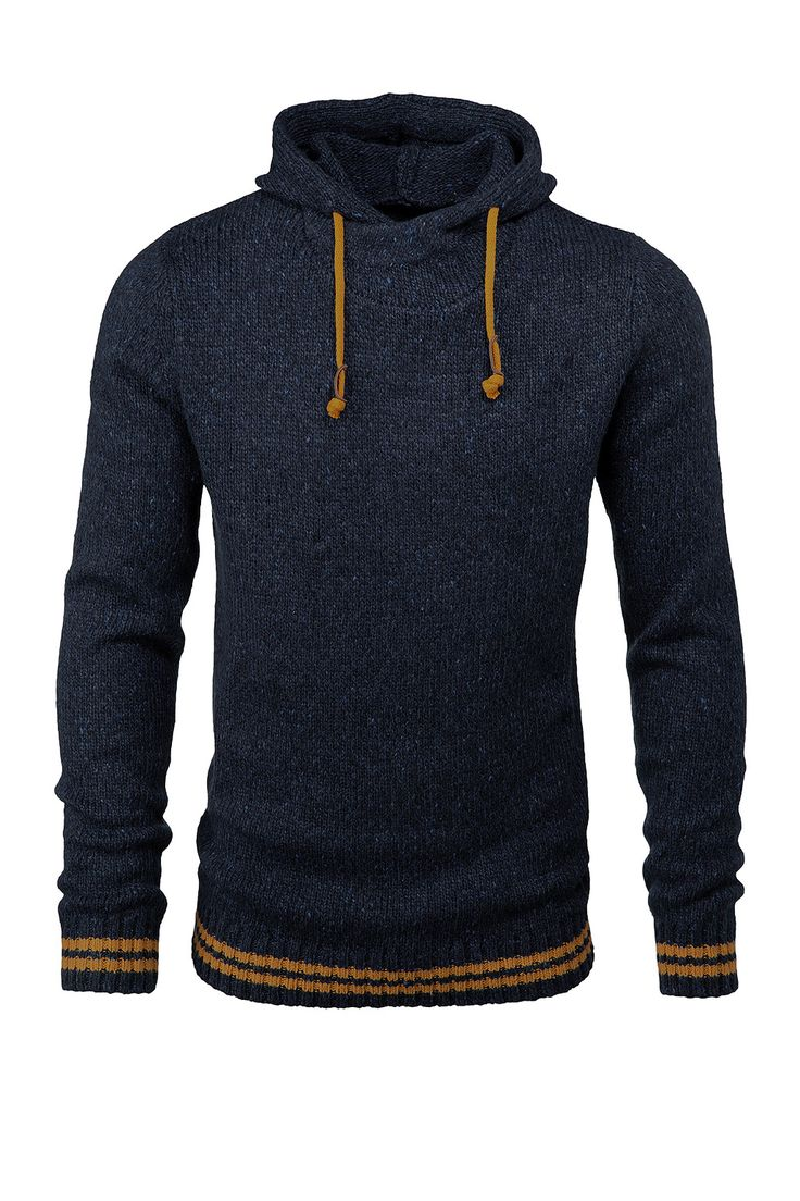 Navy Wool Hoodie with Mustard Accents