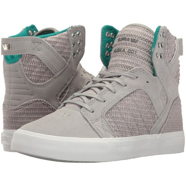 Supra Skytop (Light Grey/Grey/White) Women's Skate Shoes (£39) ❤ liked on Polyvore featuring shoes, grey, white skate shoes, supra footwear, grey skate shoes, supra shoes and grey leather shoes