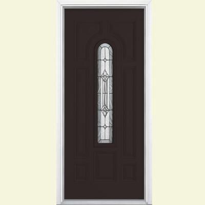 Masonite Providence Center Arch Painted Smooth Fiberglass Entry Door with Brickmold-42196 at The Home Depot