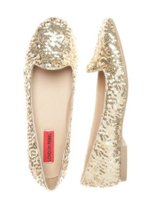 London Rebel Gold Sequin Slippers  £29.99