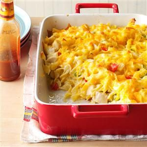 Chicken Noodle Casserole Recipe -Everyone who tries this comforting cheesy chicken casserole asks for the recipe. It's so simple to make that sometimes I feel like I'm cheating! —Kay Pederson, Yellville, Arkansas