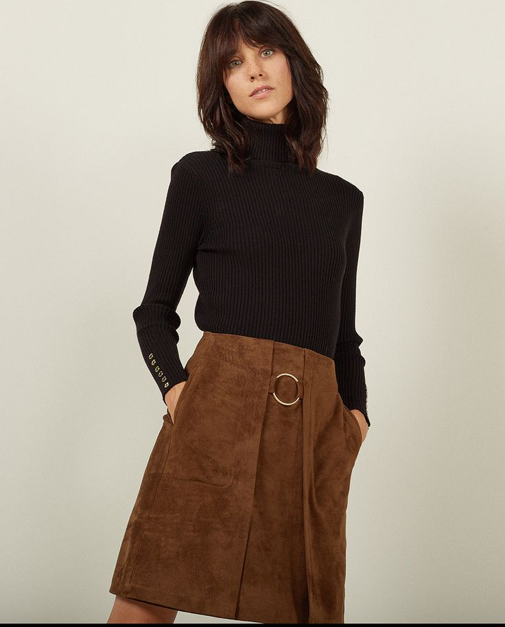 Falda antelina de moda Sfera invierno 2016
