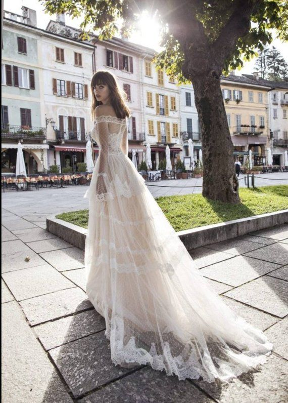 Sheath bohemian lightweight wedding dress. Off shoulder transparent bridal dress. Bridal gown. inspi
