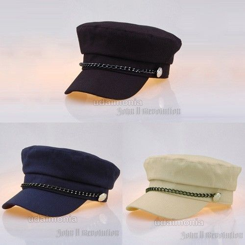 Navy Marine Corps Hat Cap Military Army Cadet Visor Hats with Black Nickel Chain