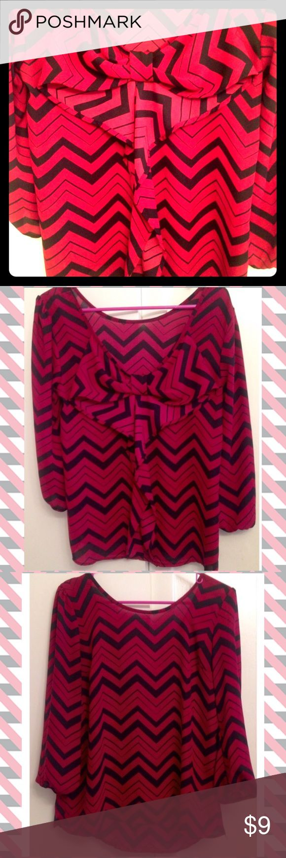 Hi-Lo Bow Back Chevron Top Hi-Lo Bow Back Chevron Top- Plunging Back. Very flattering. Like New! Charlotte Russe Tops Blouses