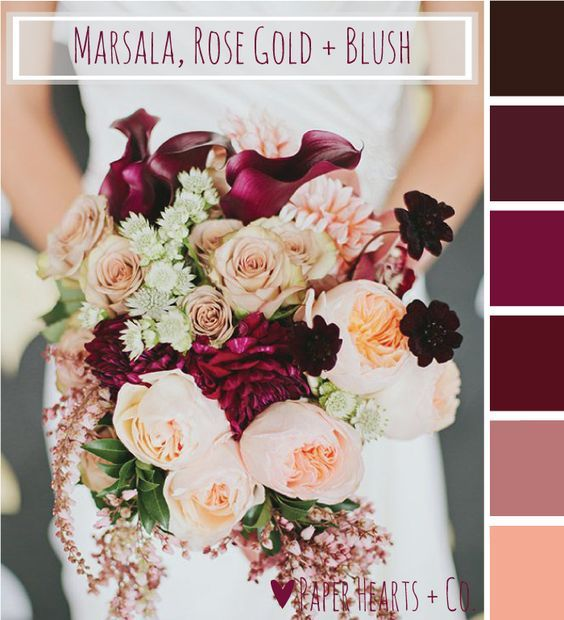 rose and marsala wedding - Google Search                                                                                                                                                                                 More