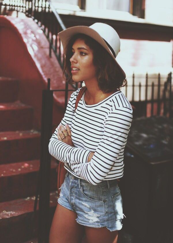 look short jeans listras chapéu