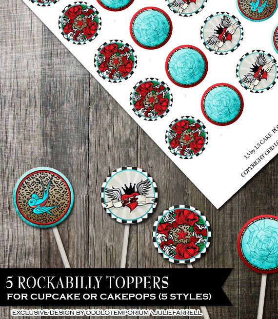 Rockabilly Cake Pop Topper Cale Toppers DIY by OddLotEmporium, $5.00